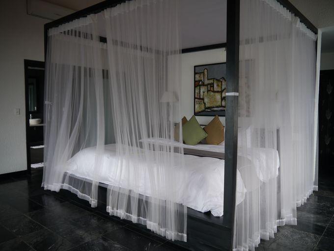 シックでモダンな客室には天蓋ベッド