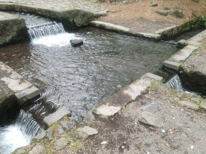 三方に水を分配する画期的な三分一湧水の分水枡