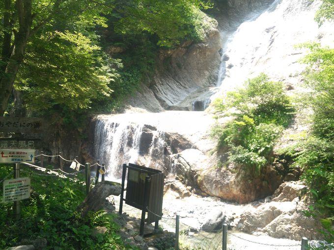 姥ケ滝を眺めながら親谷の湯