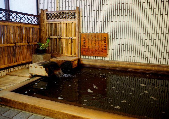 樹齢2000年を数える古代檜を使った光明石温泉