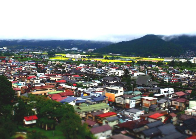 上山城の展望台から町を見下ろす