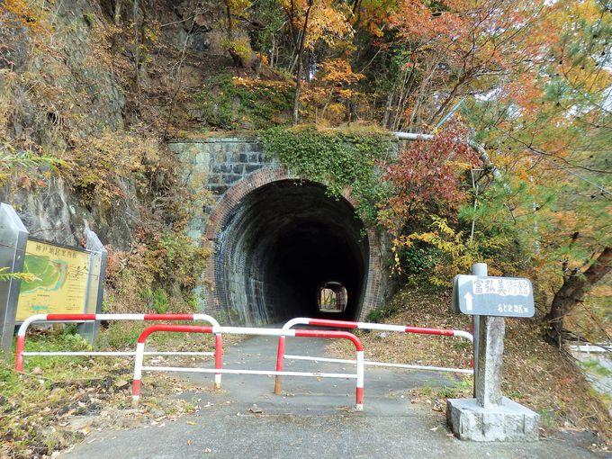 かつて線路が通っていたトンネルと覆道
