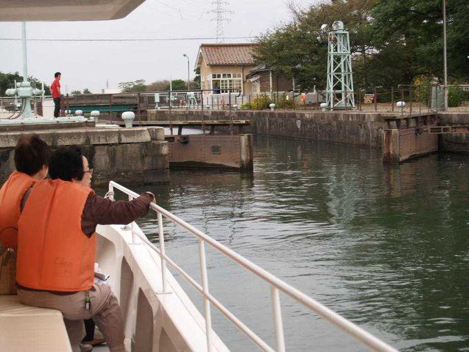 いよいよ日本のパナマ運河・中島閘門へ