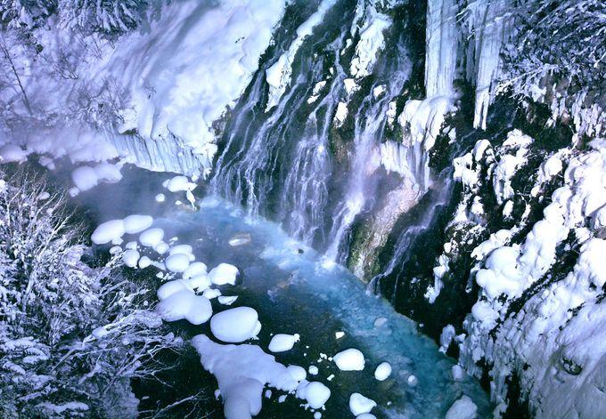 夜には「白ひげの滝」のライトアップも
