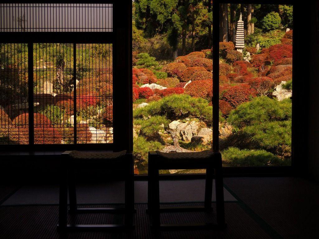 ドウダンツツジが紅く染める・奥浜名湖の名園「長楽寺」