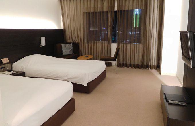 ホテルの部屋からスパワールドへは、館内着で移動OK