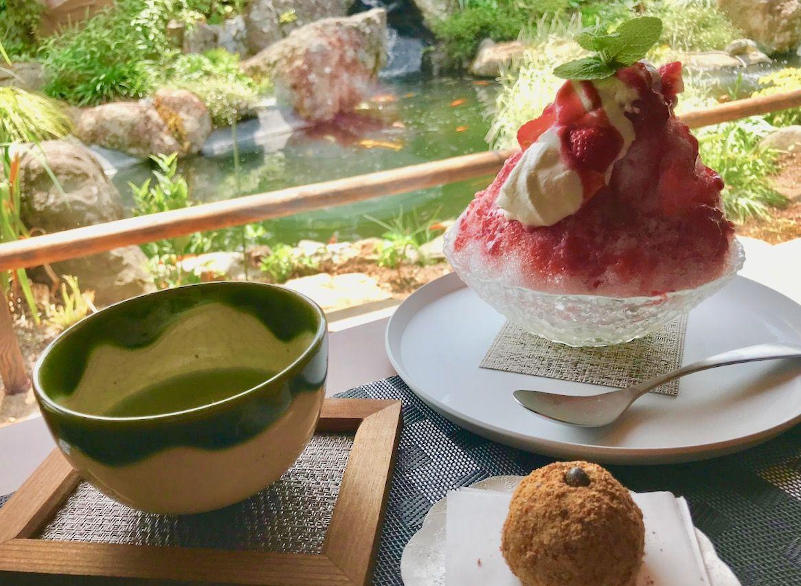 錦鯉泳ぐ山形の和カフェ「庭園喫茶 錦」優雅にかき氷とおはぎを頂く