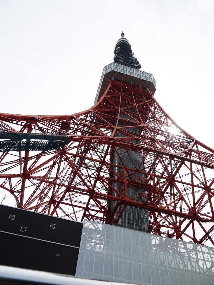 最初の目玉は真下から見る東京タワー!