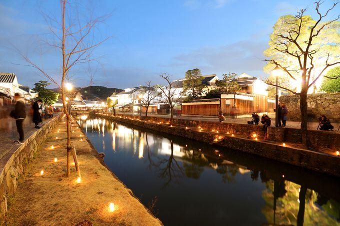 ロマンチックな「倉敷川あかり」と「川舟ながし」
