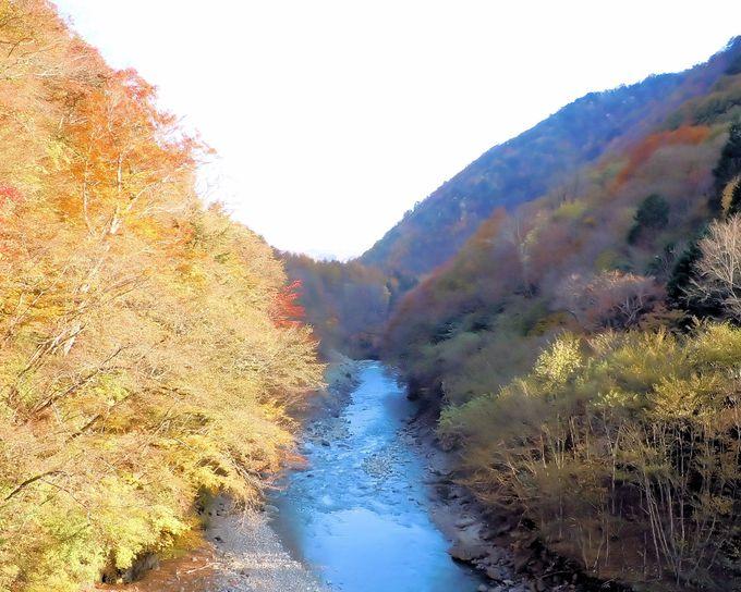 絶景が堪能できる、渓谷沿いの林道