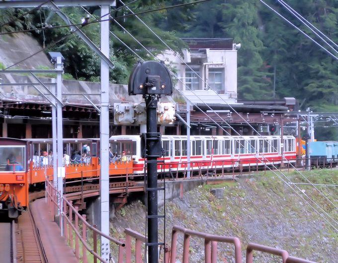 谷あいを縫って走るスリル満点の朱色のトロッコ列車!