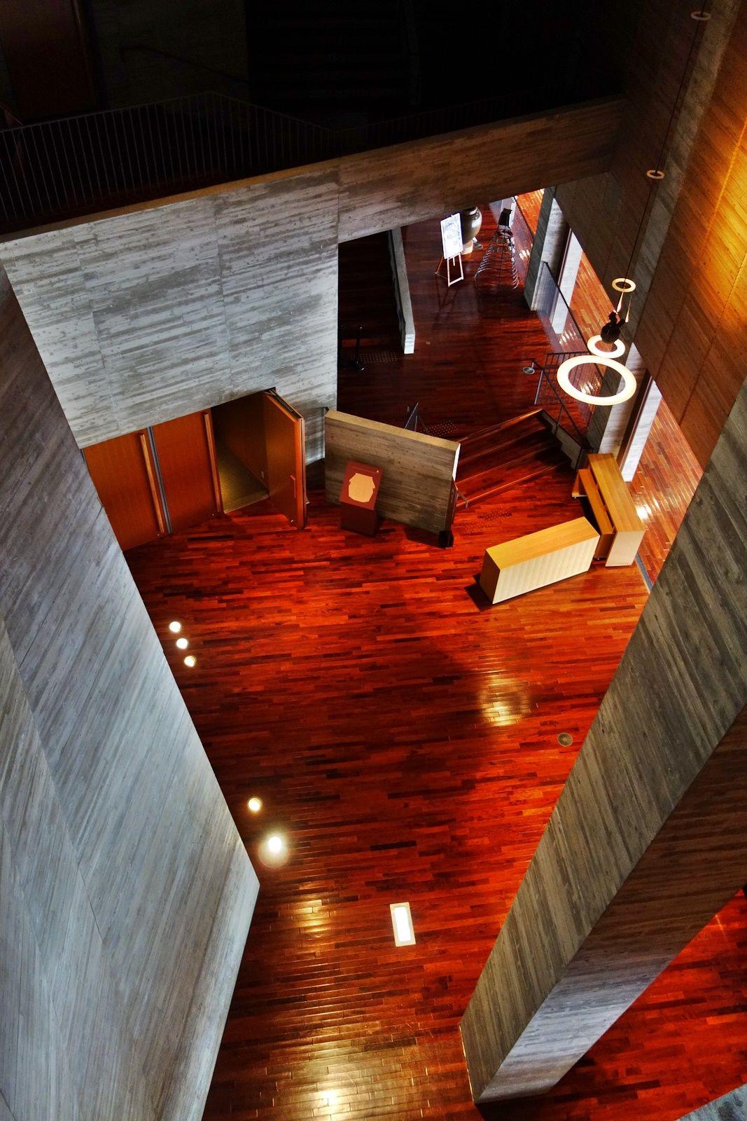 木の温もりとコンクリートの無機質さが融合したダイナミックな建物内部