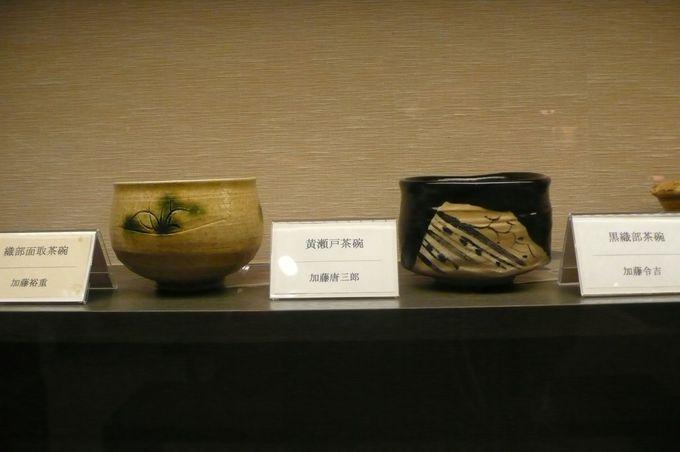 地元陶芸作家の茶器で抹茶、中には、数十万円する茶碗も有り