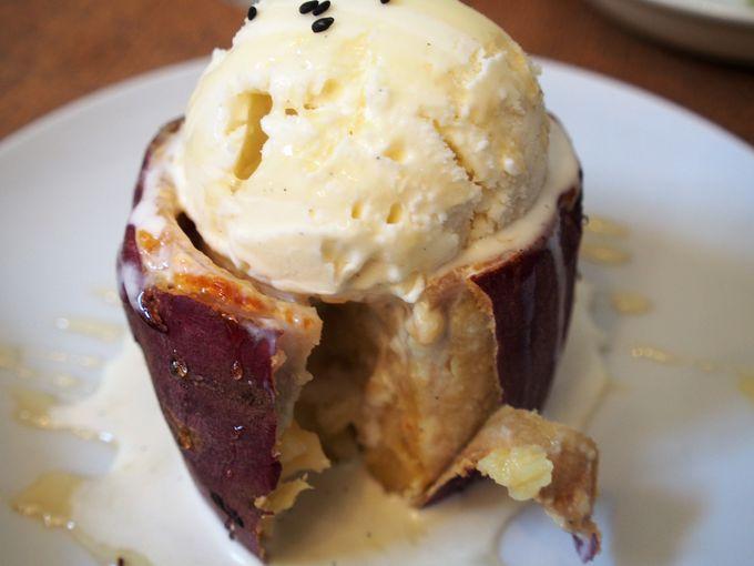 サツマイモとバニラアイスがコラボしたホクホクのスイーツ