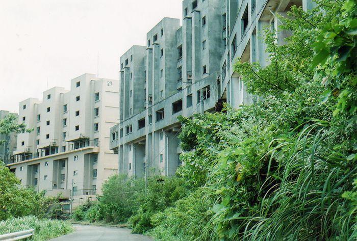 植物に覆われた団地、廃墟の群れ