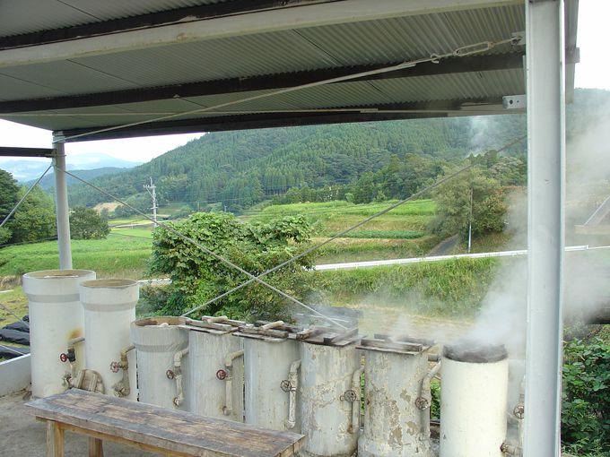 無料で使える蒸し釜で蒸したアツアツの卵や芋を眺めの良いテラスにて