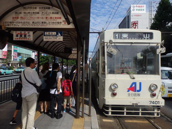 さあ、乗り込もう!「岡電」の出発点・岡山駅前電停の様子