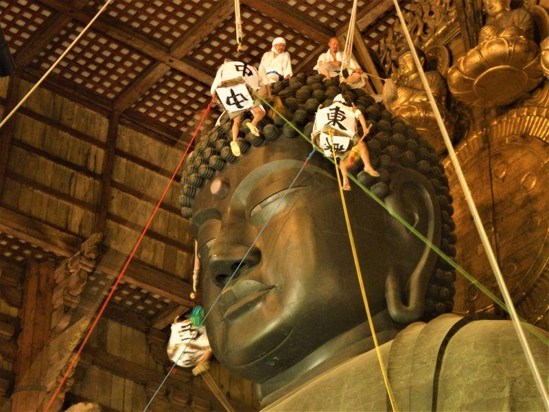 1年に1度の大掃除!奈良・東大寺大仏殿「大仏さまお身拭い」