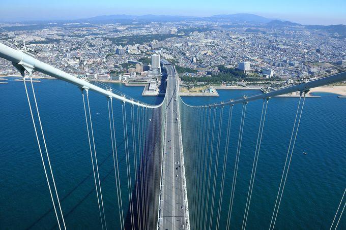 海と空に架かる世界最長のつり橋「明石海峡大橋」