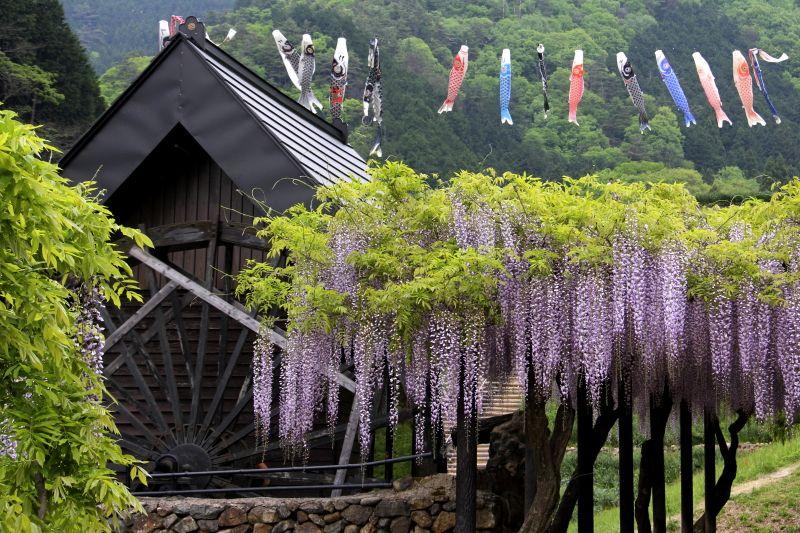 田舎の風景を彩る手作りの水車