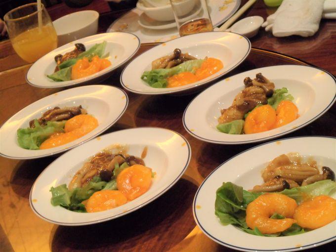 カラフルでおしゃれな前菜、ふかひれスープ、海老!