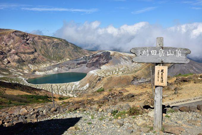 右側の刈田岳山頂へ