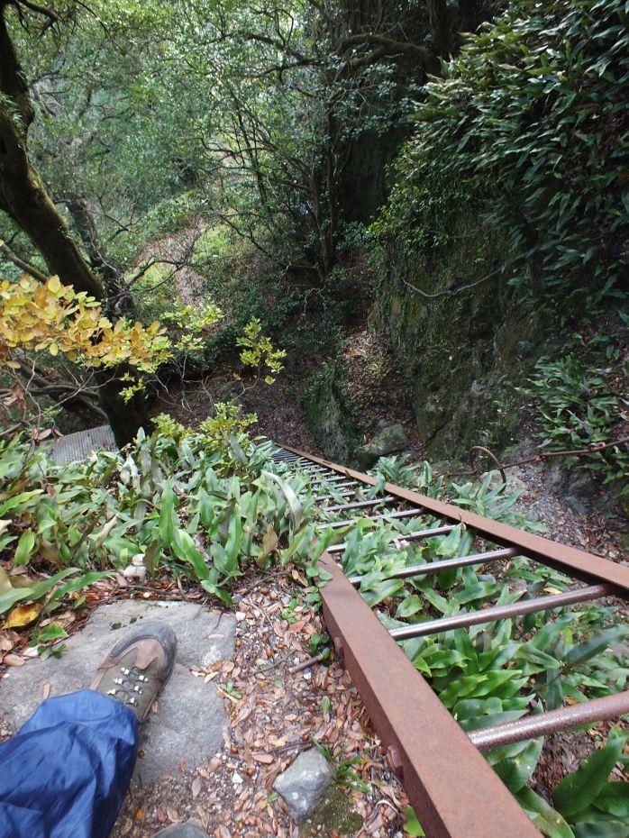 足がすくむ落差50m以上の鉄梯子