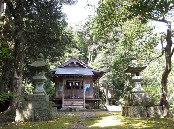 山腹に鎮座する、茂宇氣神社・本殿へ到着