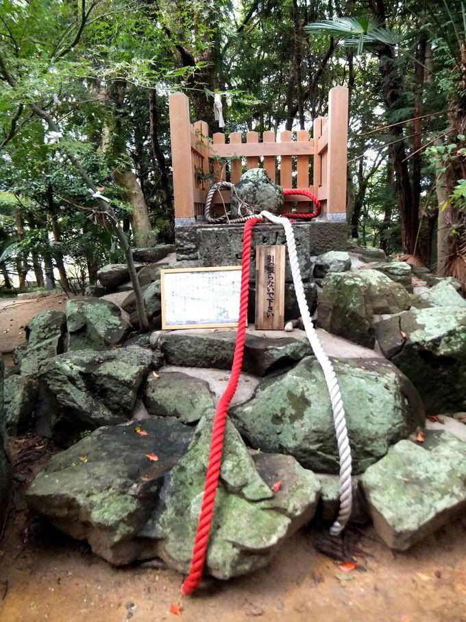 赤白の綱を握ってお参りすると2人の絆がより深く「おのころ島神社」