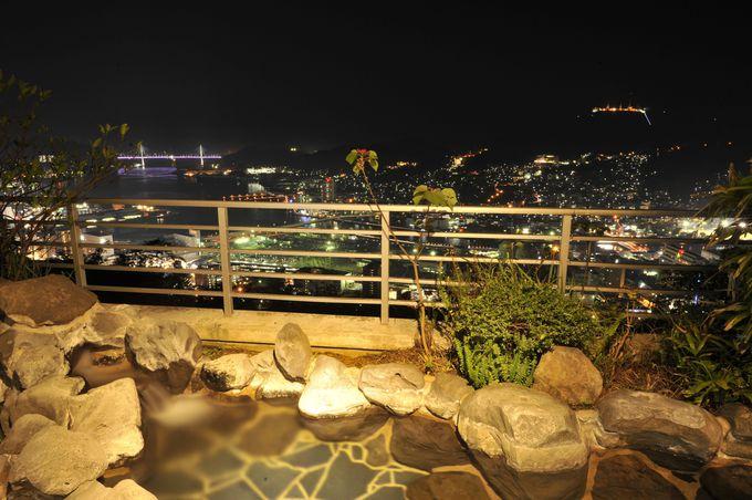 夜景を見ながら、露天風呂に入れる!「にっしょうかん新館 梅松鶴」